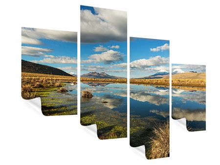Poster 4-teilig modern Wasserspiegelung am See
