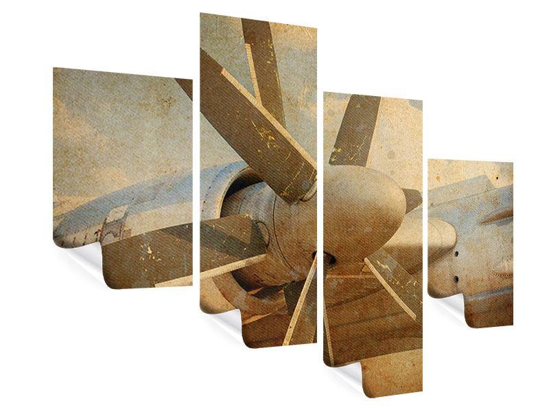 Poster 4-teilig modern Propellerflugzeug im Grungestil