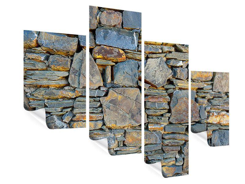 Poster 4-teilig modern Natürliche Steinmauer