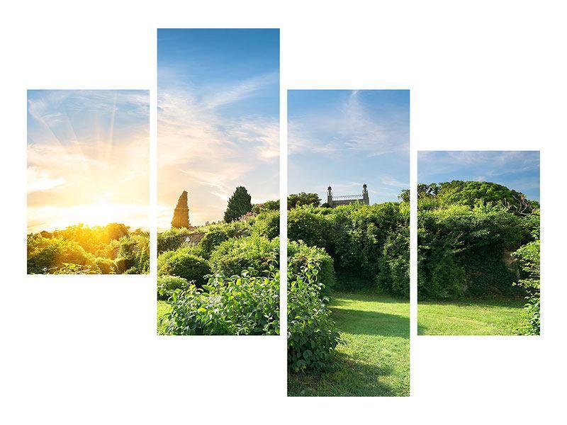 Poster 4-teilig modern Sonnenaufgang im Park