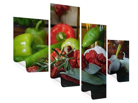 Poster 4-teilig modern Mediterranes Gemüse