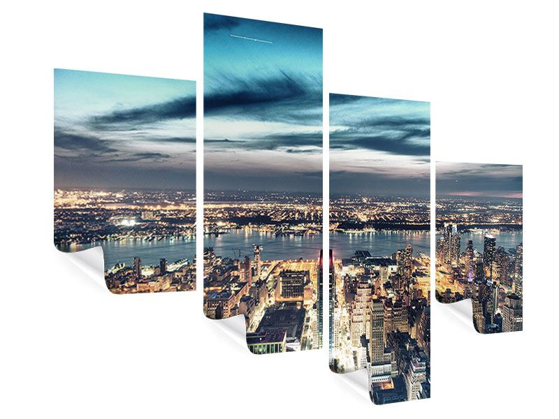 Poster 4-teilig modern Skyline Manhattan Citylights