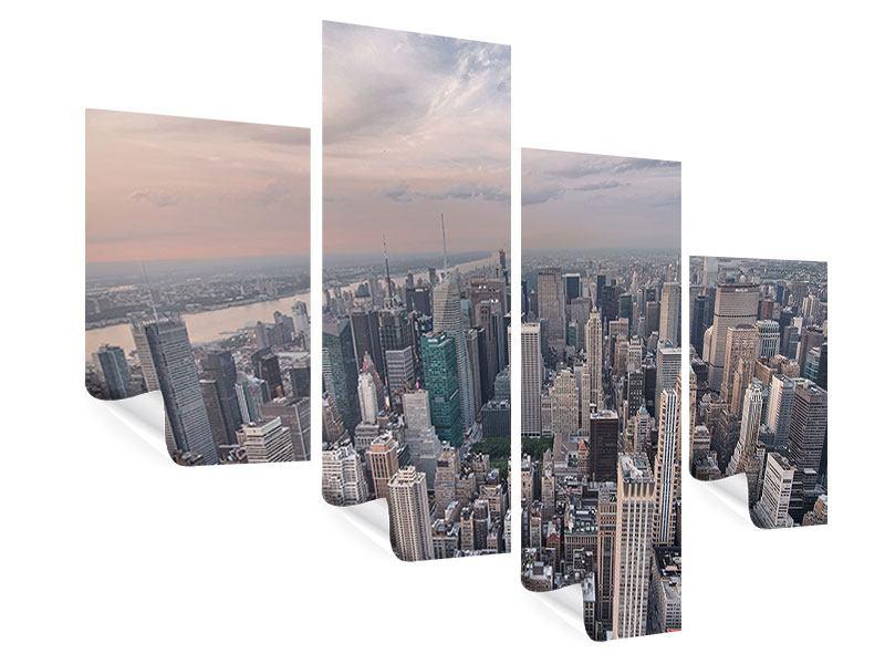 Poster 4-teilig modern Skyline Blick über Manhattan