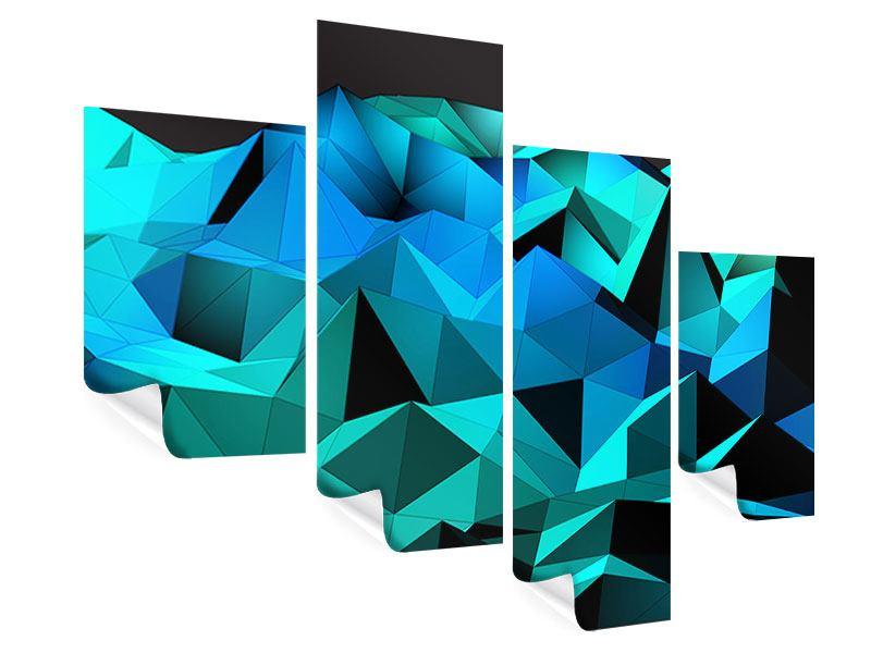 Poster 4-teilig modern 3D-Diamonds