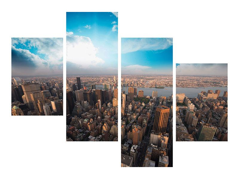 Poster 4-teilig modern Skyline Über den Dächern von Manhattan