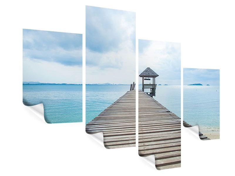 Poster 4-teilig modern Ozean-Steg