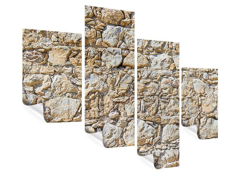 Poster 4-teilig modern Sandsteinmauer