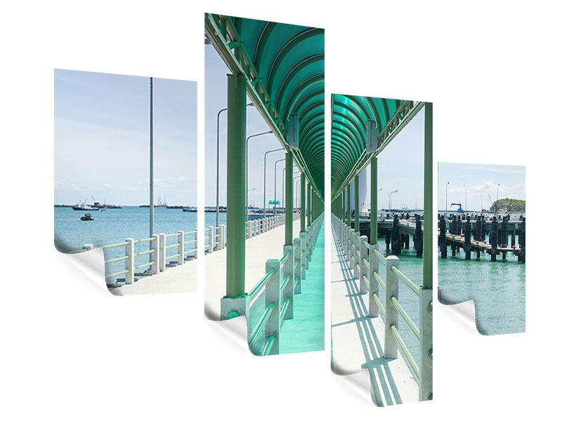 Poster 4-teilig modern Die Brücke am Meer
