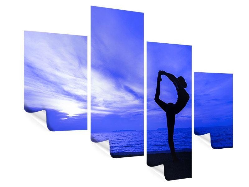 Poster 4-teilig modern Yogaübung am Strand