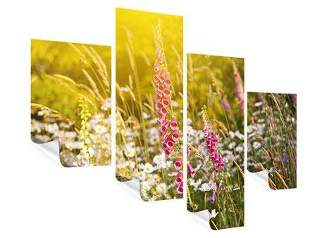 Poster 4-teilig modern Sommerliche Blumenwiese