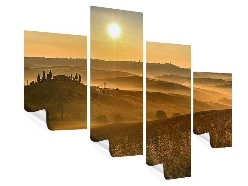 Poster 4-teilig modern Sonnenuntergang im Gebirge