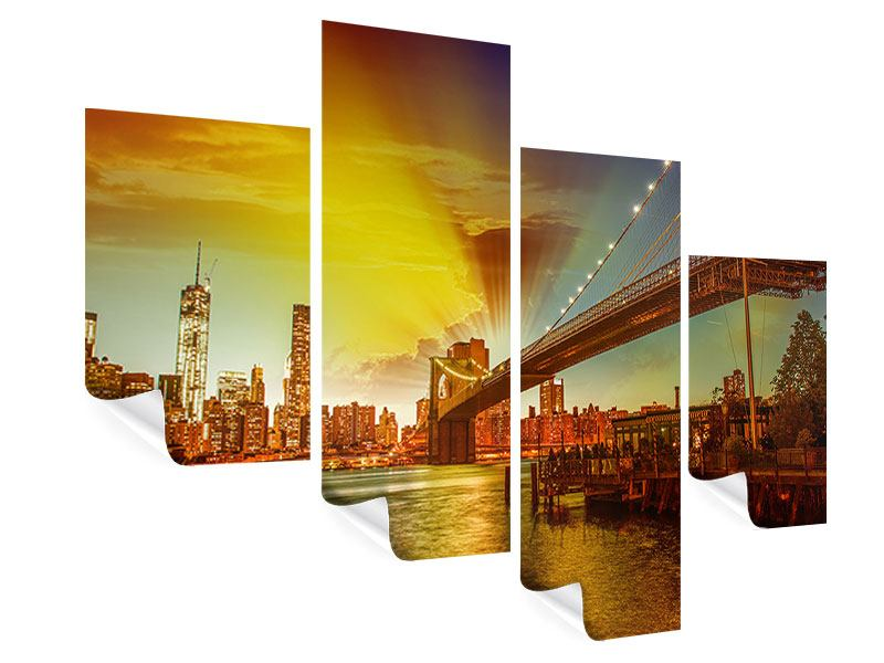 Poster 4-teilig modern Skyline Brooklyn Bridge NY