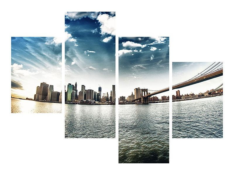 Poster 4-teilig modern Brooklyn Bridge From The Other Side