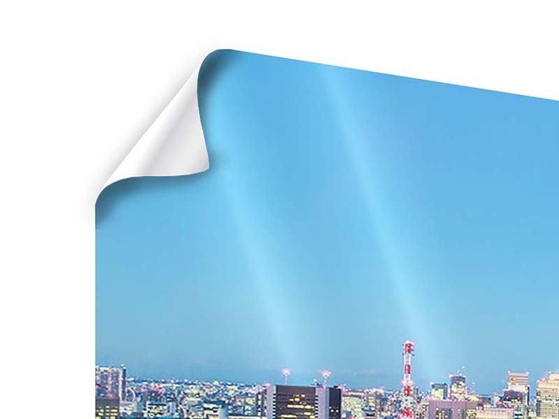 Poster 4-teilig modern Skyline Tokio im Lichtermeer