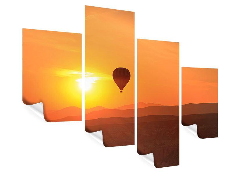 Poster 4-teilig modern Heissluftballon bei Sonnenuntergang