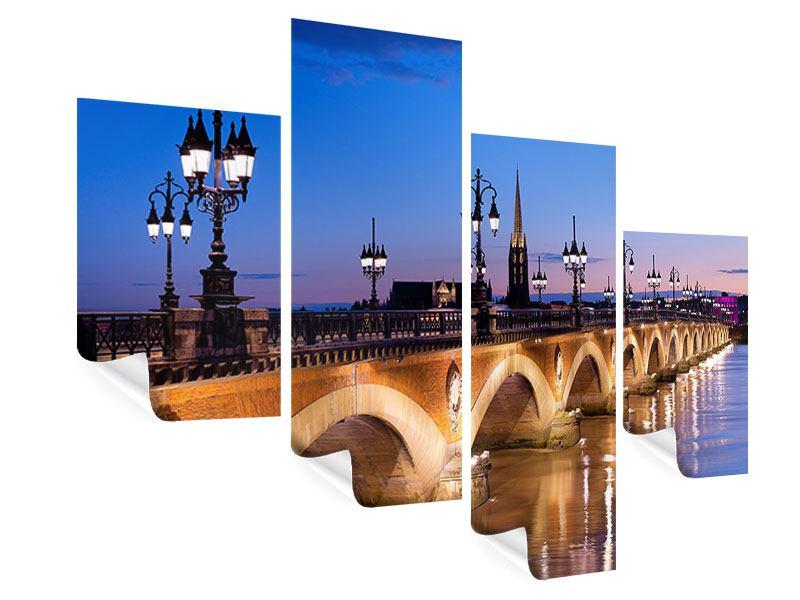 Poster 4-teilig modern Pont De Pierre bei Sonnenuntergang