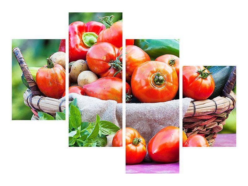 Poster 4-teilig modern Gemüsekorb
