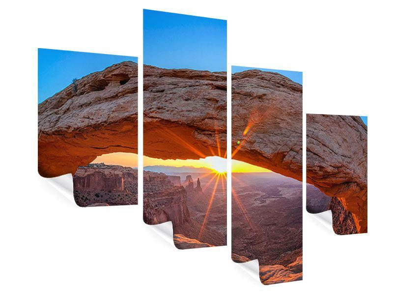 Poster 4-teilig modern Sonnenuntergang am Mesa Arch