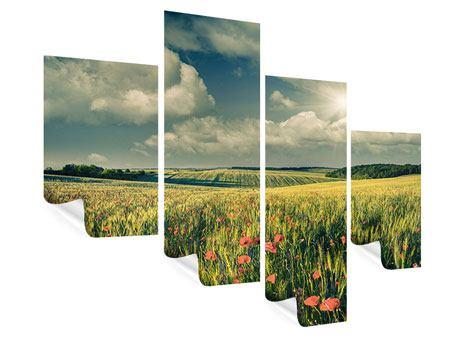 Poster 4-teilig modern Der Mohn im Weizenfeld