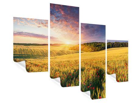 Poster 4-teilig modern Ein Blumenfeld bei Sonnenaufgang