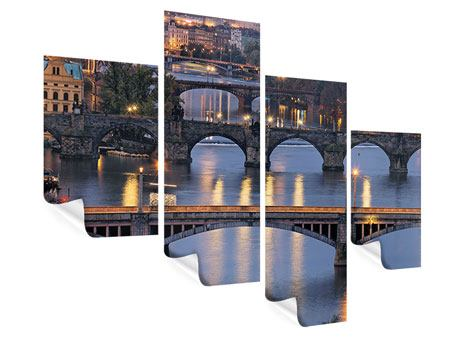 Poster 4-teilig modern Brücken in Prag