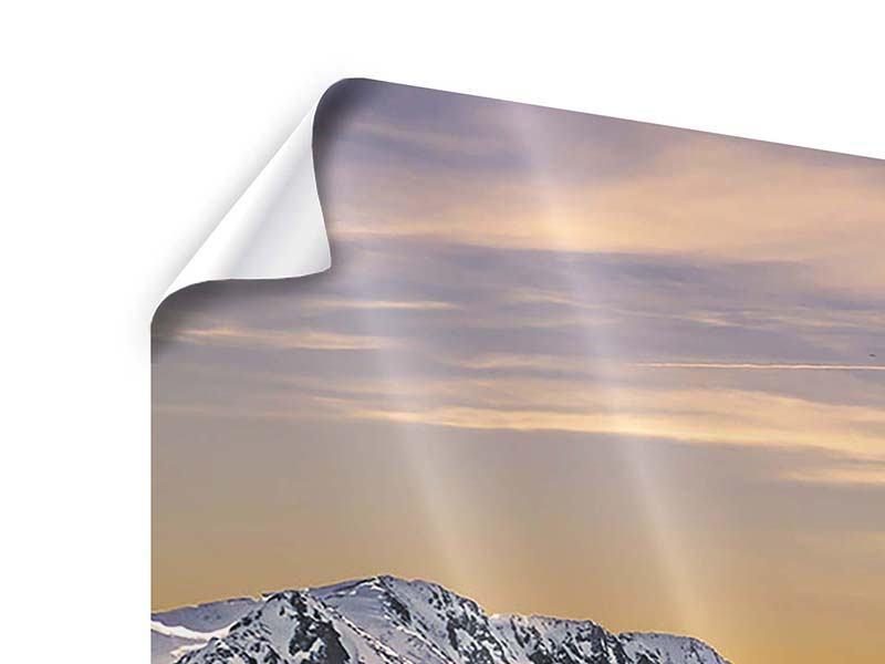 Poster 4-teilig modern Sonnenuntergang in den Bergen
