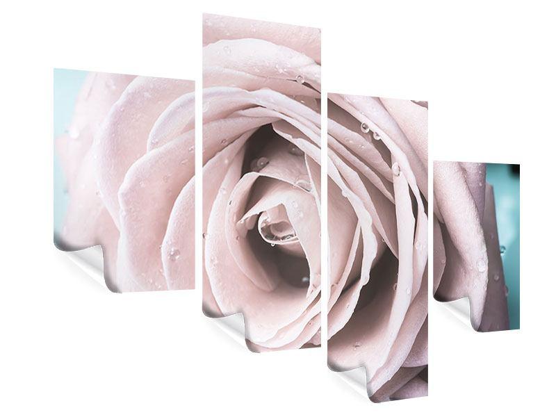 Poster 4-teilig modern Pastellrose