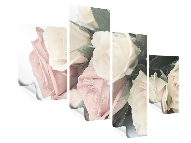 Poster 4-teilig modern Rosenromantik