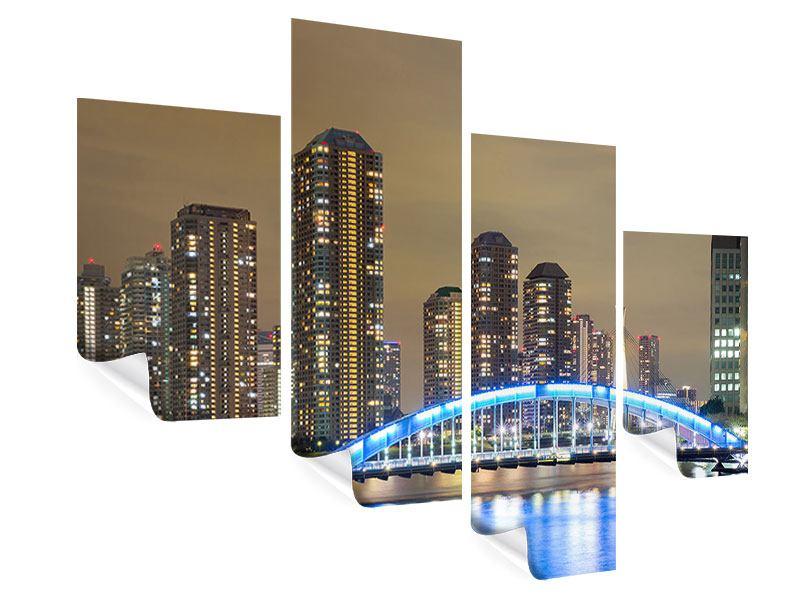Poster 4-teilig modern Skyline Tokio in der Nacht