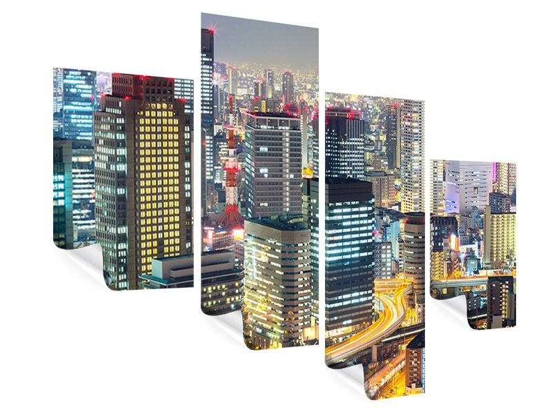 Poster 4-teilig modern Skyline Osaka im Lichtermeer