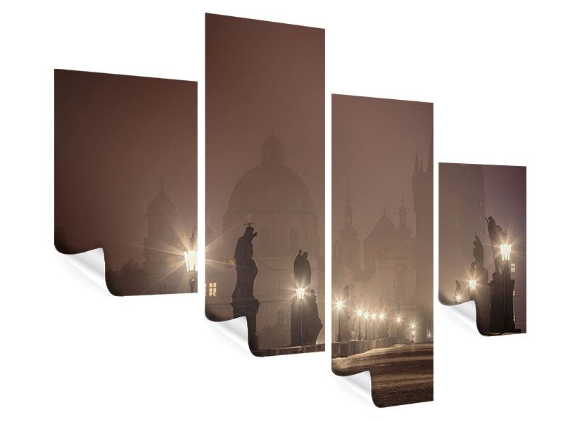 Poster 4-teilig modern Die Karlsbrücke bei Nacht