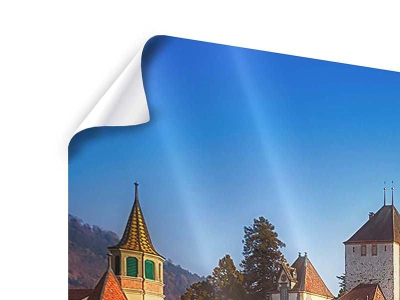 Poster 4-teilig modern Schloss Oberhofen am Thunersee