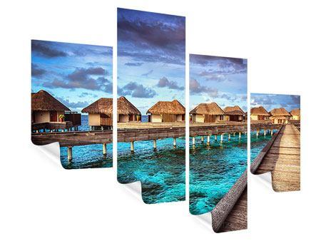 Poster 4-teilig modern Traumhaus im Wasser