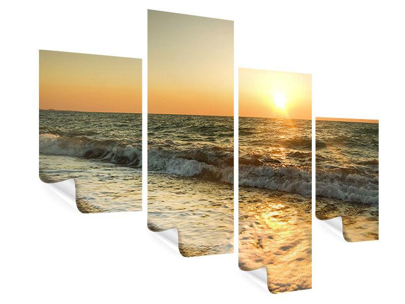 Poster 4-teilig modern Sonnenuntergang am Meer