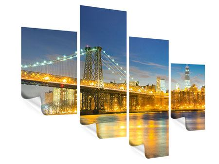 Poster 4-teilig modern Brooklyn Bridge bei Nacht