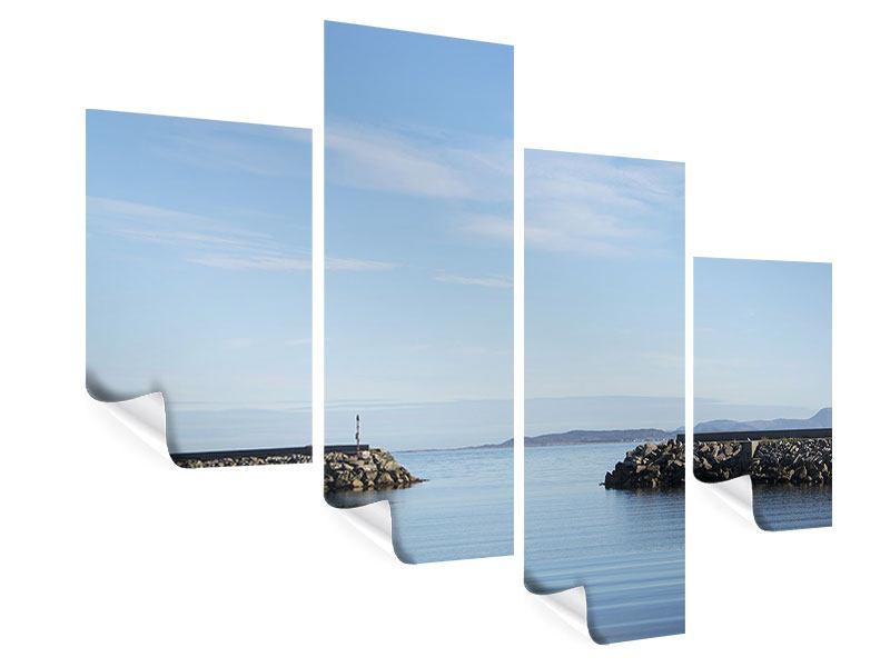Poster 4-teilig modern Hafenmauern