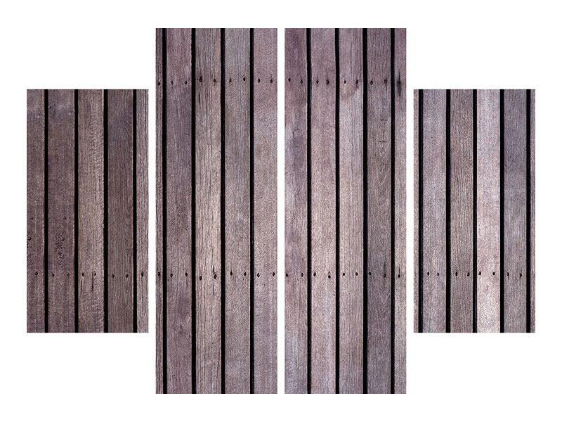 Poster 4-teilig Holzwand