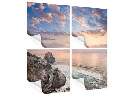 Poster 4-teilig Romantischer Sonnenuntergang am Meer