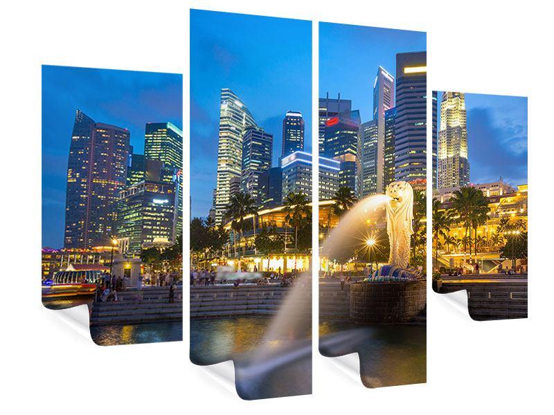 Poster 4-teilig Skyline Singapur im Lichtermeer