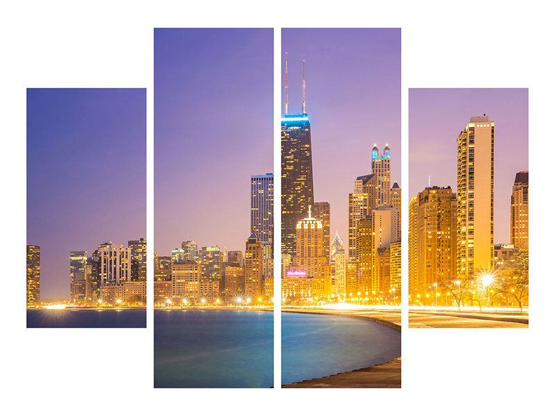 Poster 4-teilig Skyline Chicago in der Nacht