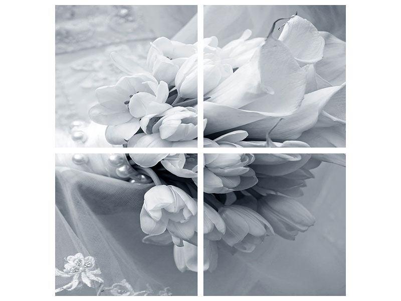 Poster 4-teilig Romantisches Tulpenbukett