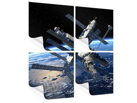 Poster 4-teilig Raumstation