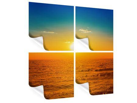 Poster 4-teilig Das Meer im Sonnenuntergang