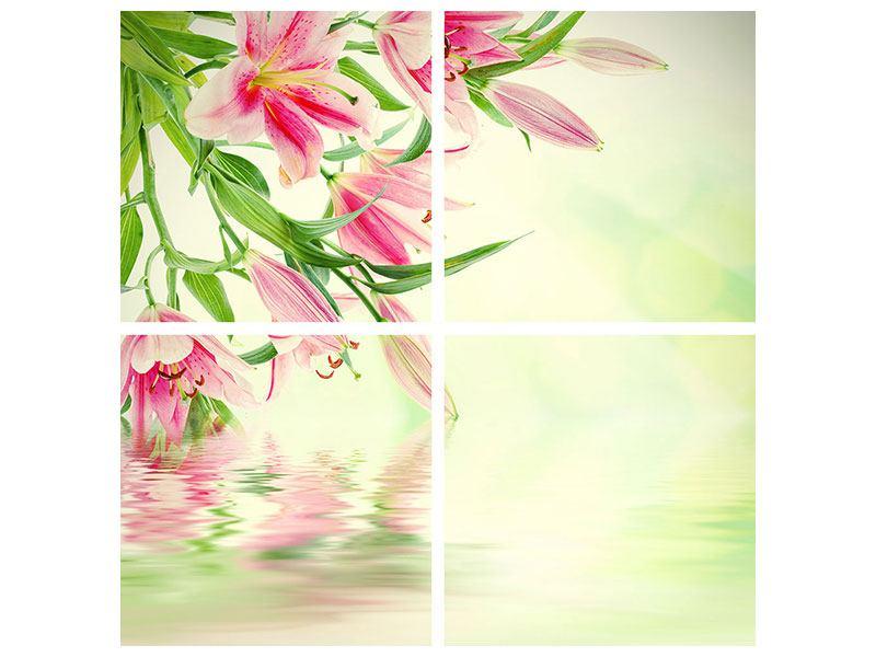 Poster 4-teilig Lilien am Wasser