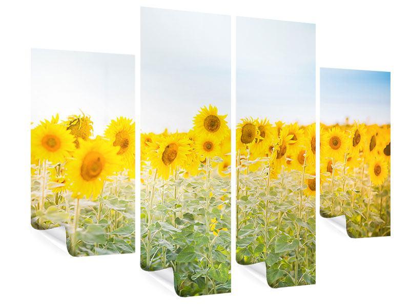 Poster 4-teilig Im Sonnenblumenfeld