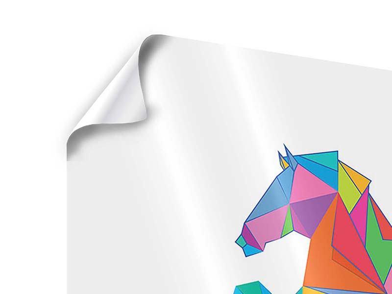 Poster 4-teilig Origami Pferd