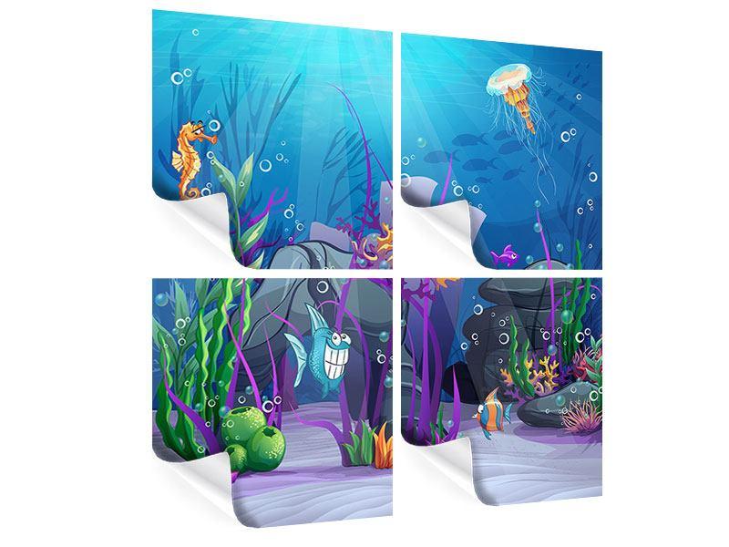 Poster 4-teilig Unterwasserschatzsuche