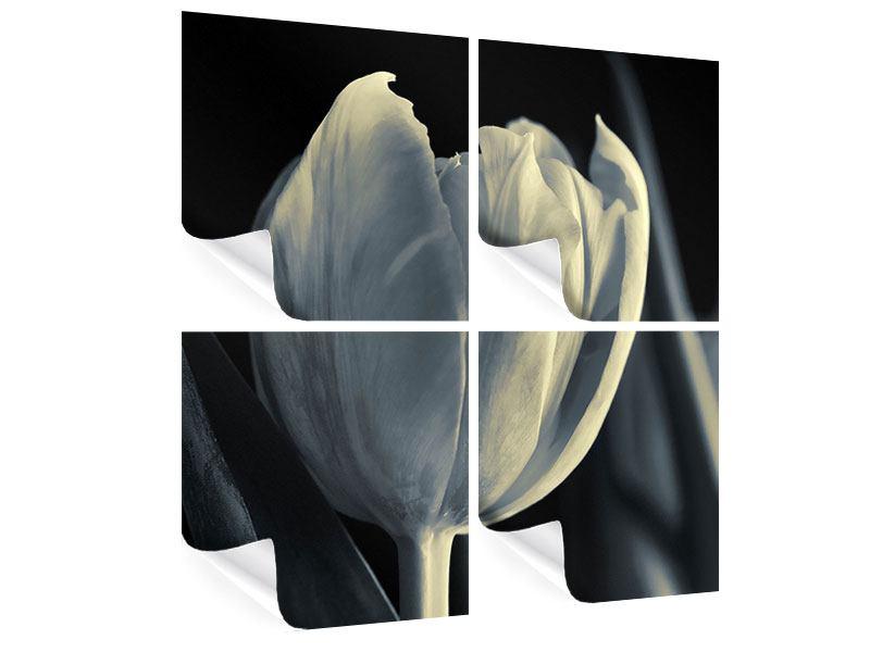Poster 4-teilig Schwarzweissfotografie XXL Tulpe