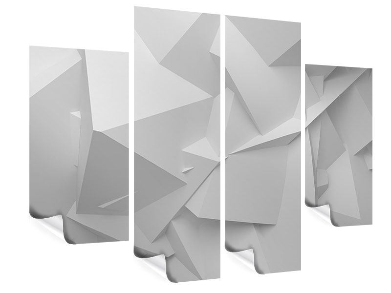 Poster 4-teilig 3D-Raster