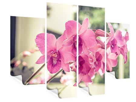 Poster 4-teilig Ein Fensterplatz für die Orchideen